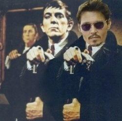 Jonathan Frid and Johnny Depp. Image Credit: Pinterest