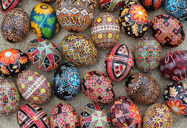 A mix of traditional Ukrainian, diasporan and original pysanky (Ukrainian Easter eggs) Creator: Luba Petrusha - Date 2011-04-23. Courtesy Wikipedia Creative Commons.