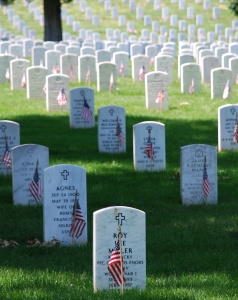 Graves at Arlington Cemetery on Memorial Day. Photo is courtesy of Wikipedia and is in the public domain.