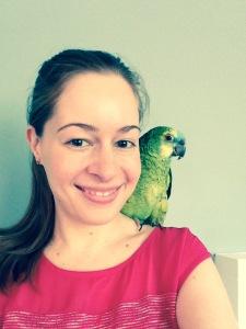 Liz with bird on shoulder