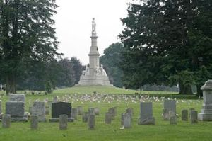 Soldiers National Monument at the center of Gettysburg National Cemetery.